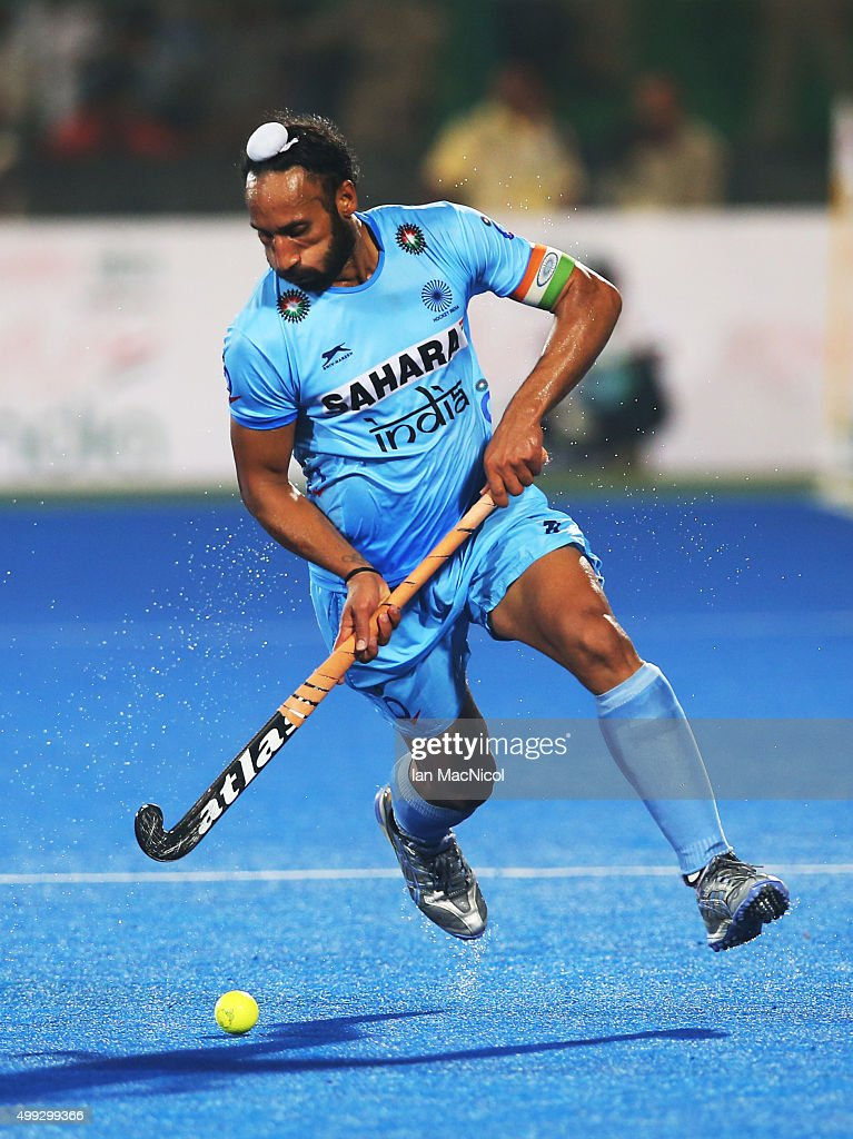 Sardar Singh captain of India runs with the ball during the match between Netherlands and India on day four of The Hero Hockey League World Final at the Sardar Vallabh Bhai Patel International Hockey Stadium on November 30, 2015 in Raipur, India.