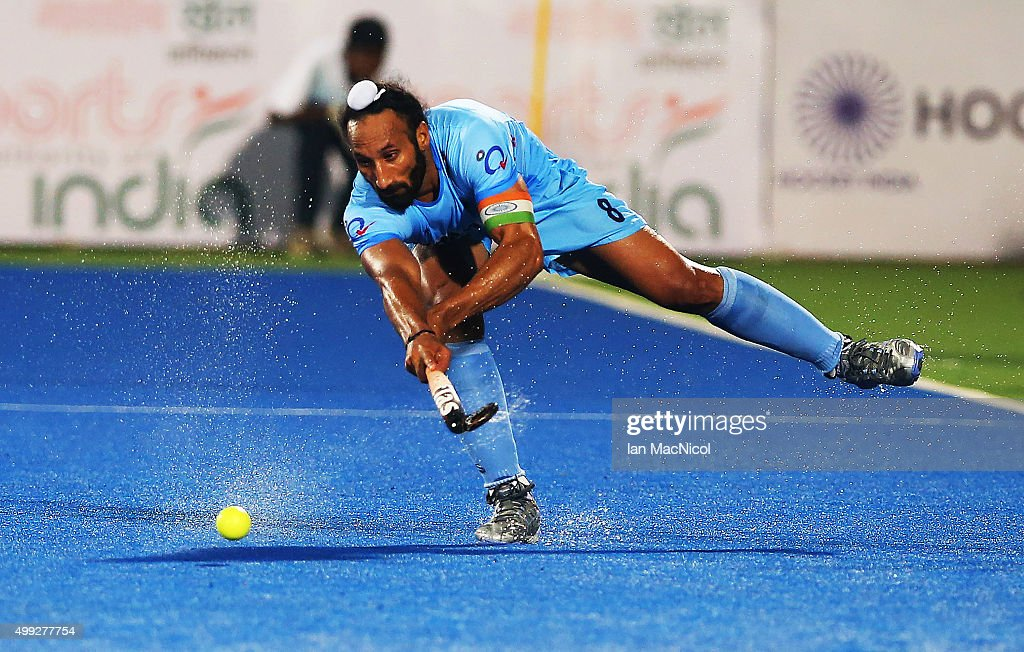 Sardar Singh captain of India strikes the ball during the match between Netherlands and India on day four of The Hero Hockey League World Final at the Sardar Vallabh Bhai Patel International Hockey Stadium on November 30, 2015 in Raipur, India.