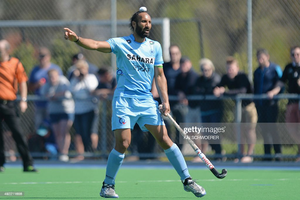 Sardar Singh of India reacting during the international men's hockey test match between the New Zealand Black Sticks and India on October 11, 2015 in Christchurch, New Zealand.