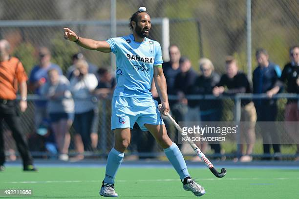 Sardar Singh of India reacting during the international men's hockey test match between the New Zealand Black Sticks and India on October 11 2015 in...