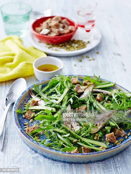 Sardine, asparagus and crouton salad
