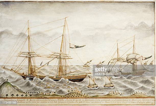 Sardinian brigantine the Sant'Anna di Quinto throwing cargo overboard to survive the storm 1821 watercolour by an unknown artist Italy 19th century...