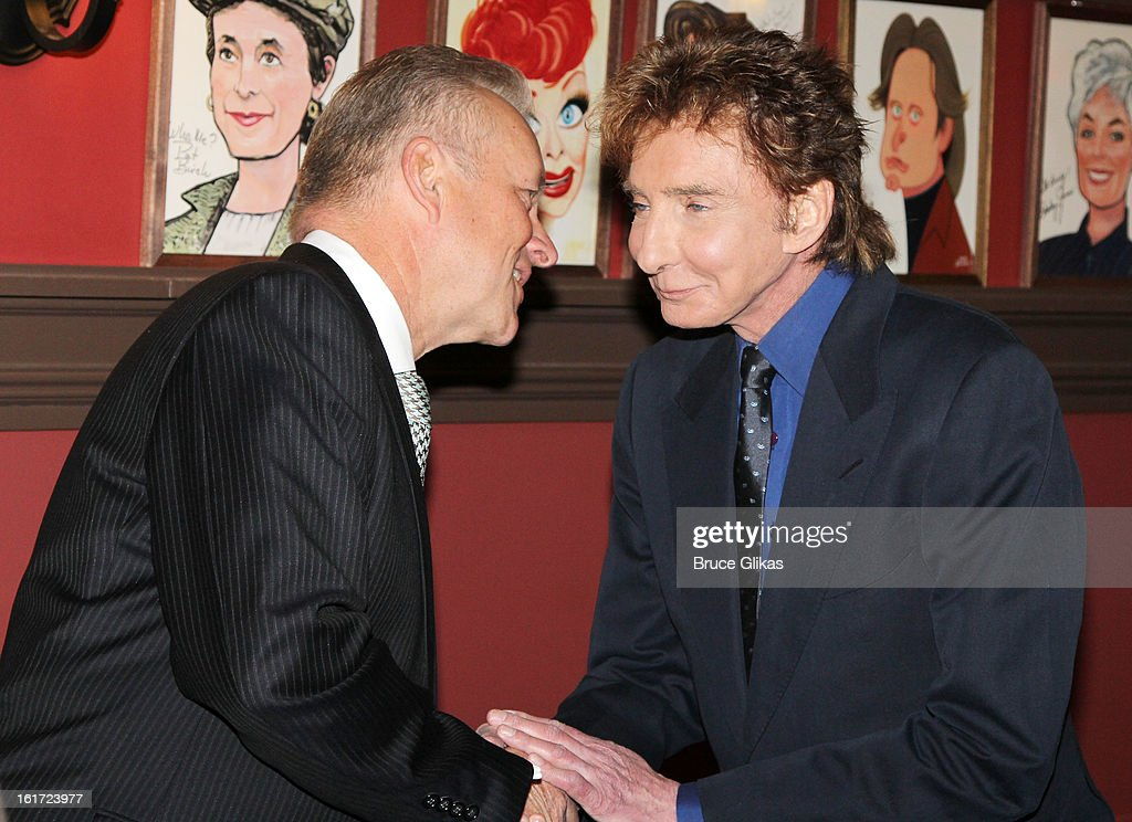 Sardi's Owner Max Klimavicius and <a gi-track='captionPersonalityLinkClicked' href=/galleries/search?phrase=Barry+Manilow&family=editorial&specificpeople=210534 ng-click='$event.stopPropagation()'>Barry Manilow</a> attend the <a gi-track='captionPersonalityLinkClicked' href=/galleries/search?phrase=Barry+Manilow&family=editorial&specificpeople=210534 ng-click='$event.stopPropagation()'>Barry Manilow</a> Caricature Unveiling at Sardi's on February 14, 2013 in New York City.