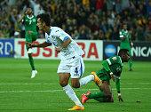 Sardor Rashidov of Uzbekistan celebrates after he scored a goal during the 2015 Asian Cup match between Uzbekistan and Saudi Arabia at AAMI Park on...