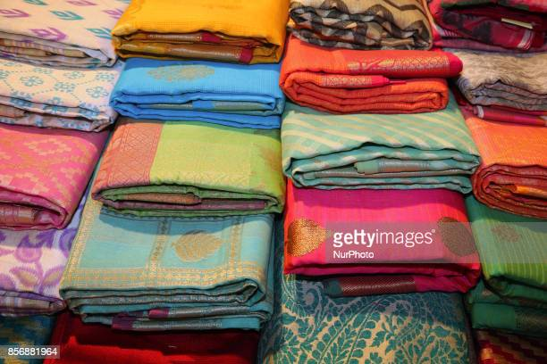 Sarees for sale during the Hindu festival of Navratri at a textile shop in Mississauga Ontario Canada on 30 September 2017