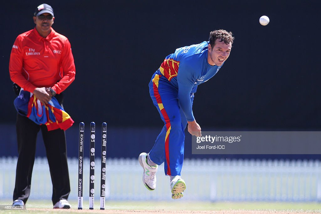 Sarel Burger of Namibia bowls during an ICC World Cup qualifying match between Namibia and Kenya on January 17, 2014 in Mount Maunganui, New Zealand.
