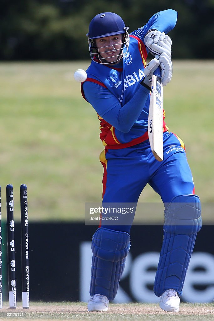 Sarel Burger of Namibia plays a shot during an ICC World Cup qualifying match between Namibia and Kenya on January 17, 2014 in Mount Maunganui, New Zealand.