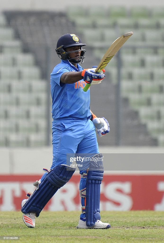 Sarfaraz Khan of India acknowledges teammates after scoring a half century during the ICC U19 World Cup Final Match between India and West Indies on February 14, 2016 in Dhaka, Bangladesh.