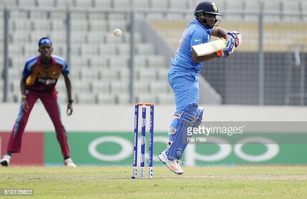 Sarfaraz Khan of India bats during the ICC U19 World Cup Final Match between India and West Indies on February 14 2016 in Dhaka Bangladesh