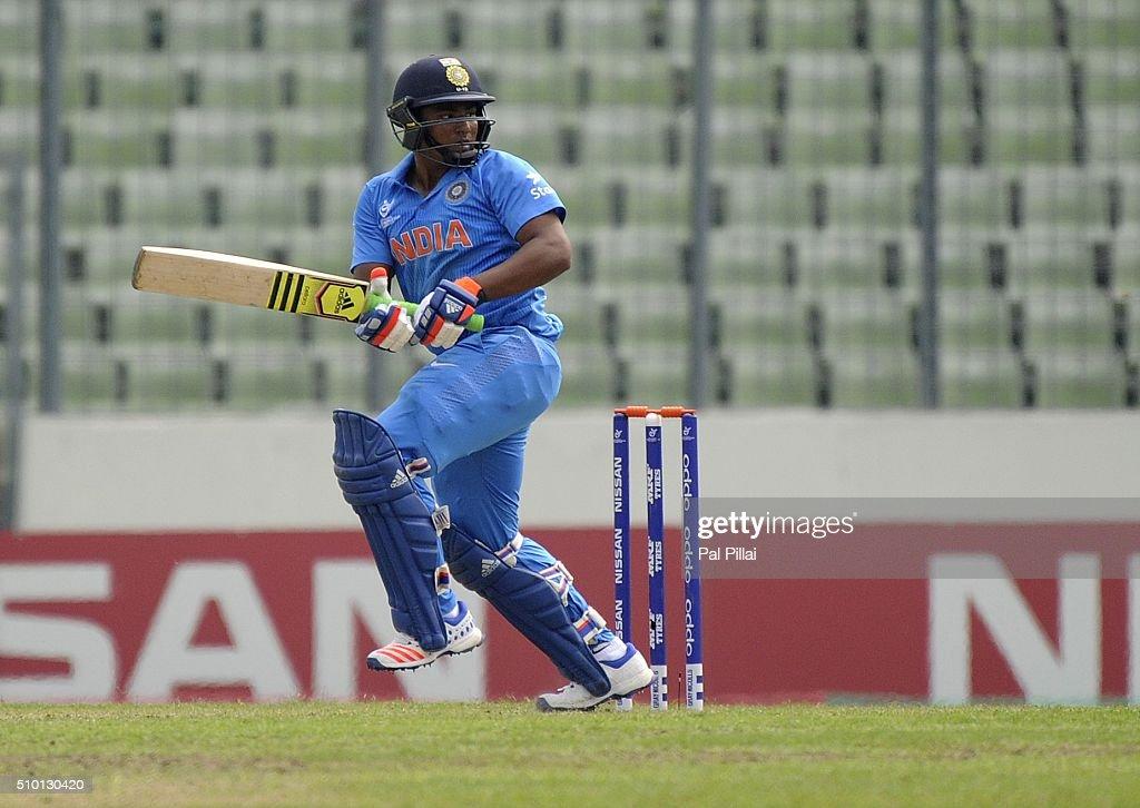 Sarfaraz Khan of India bats during the ICC U19 World Cup Final Match between India and West Indies on February 14, 2016 in Dhaka, Bangladesh.