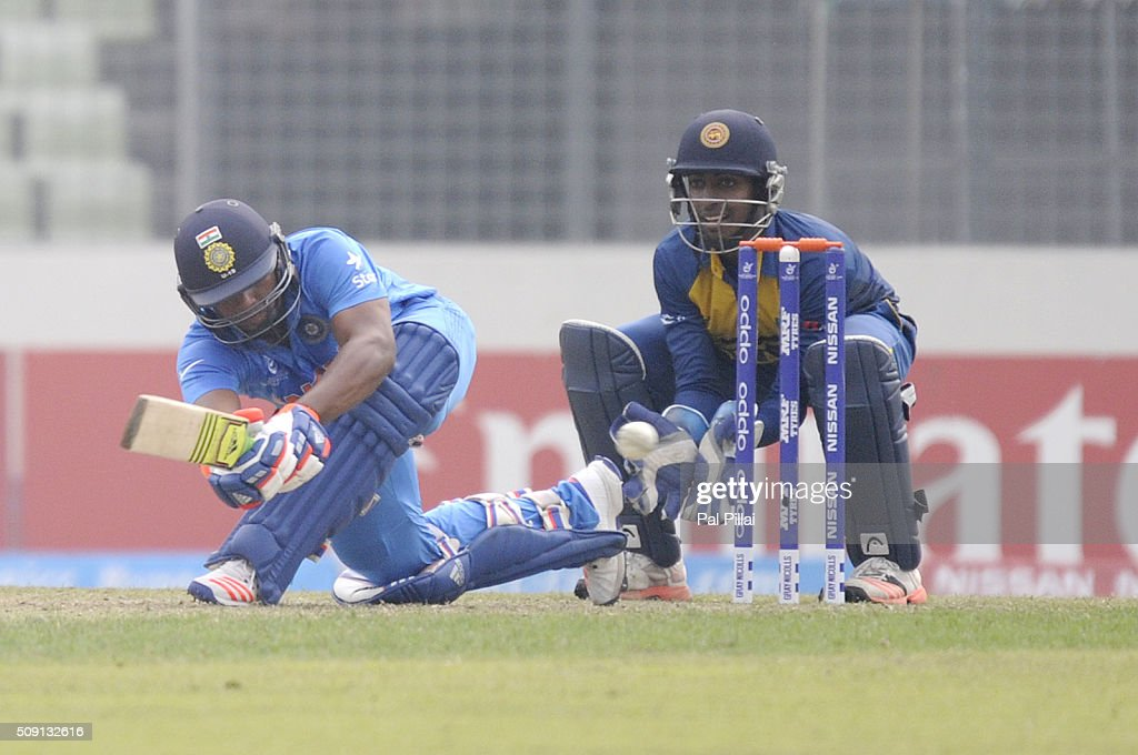 Sarfaraz Khan of India bats during the ICC U19 World Cup Semi-Final match between India and Sri Lanka on February 9, 2016 in Dhaka, Bangladesh.