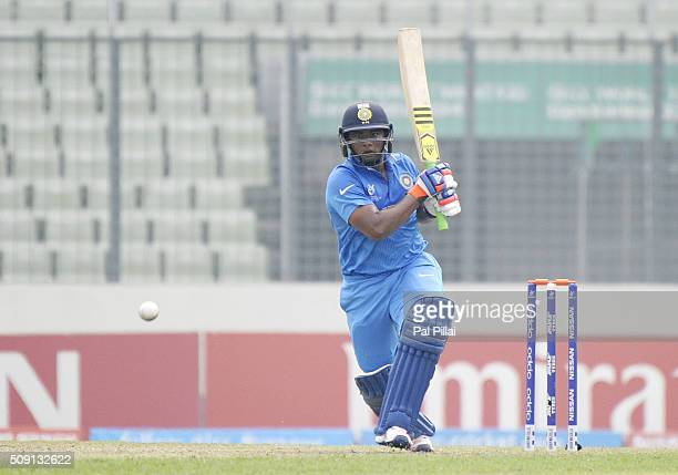 Sarfaraz Khan of India bats during the ICC U19 World Cup SemiFinal match between India and Sri Lanka on February 9 2016 in Dhaka Bangladesh