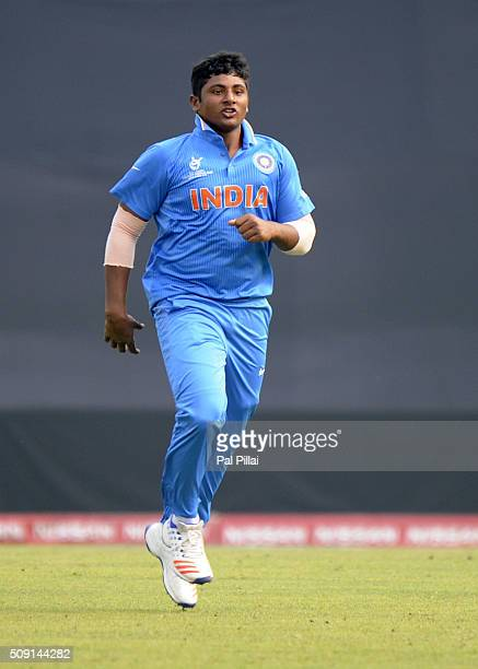Sarfaraz Khan of India celebrates the wicket of Shammu Ashan of Sri Lanka during the ICC U19 World Cup SemiFinal match between India and Sri Lanka on...