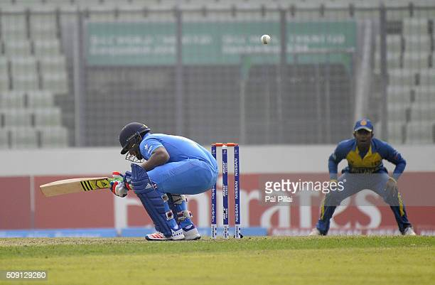 Sarfaraz Khan of India leaves a ball during the ICC U19 World Cup SemiFinal match between India and Sri Lanka on February 9 2016 in Dhaka Bangladesh