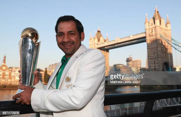Sarfraz Ahmed Captain of Pakistan pictured with the ICC Champions Trophy during a photocall after winning the Final of the ICC Champions Trophy on...