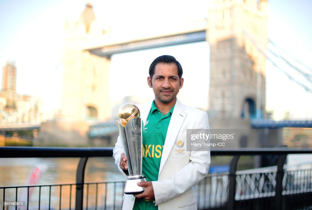 Sarfraz Ahmed, Captain of Pakistan poses with the trophy during the ICC Champions Trophy - Post Final Photocall at Tower Bridge on June 19, 2017 in London, England.