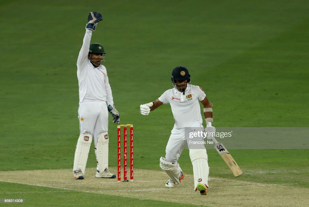 Sarfraz Ahmed of Pakistan appeals for the wicket of Dinesh Chandimal of Sri Lanka during Day One of the Second Test between Pakistan and Sri Lanka at Dubai International Cricket Ground on October 6, 2017 in Dubai, United Arab Emirates.