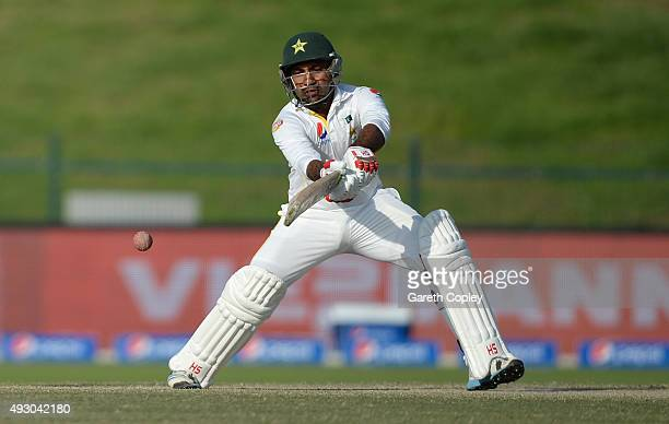 Sarfraz Ahmed of Pakistan bats during day five of the 1st Test between Pakistan and England at Zayed Cricket Stadium on October 17 2015 in Abu Dhabi...