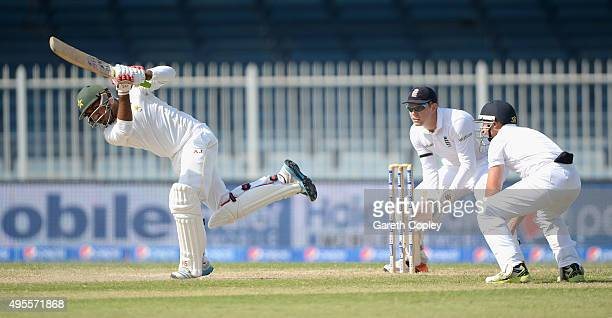 Sarfraz Ahmed of Pakistan bats during day four of the 3rd Test between Pakistan and England at Sharjah Cricket Stadium on November 4 2015 in Sharjah...