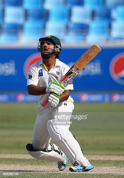 Sarfraz Ahmed of Pakistan bats during day four of the second test between Pakistan and New Zealand at Dubai International Stadium on November 20 2014...