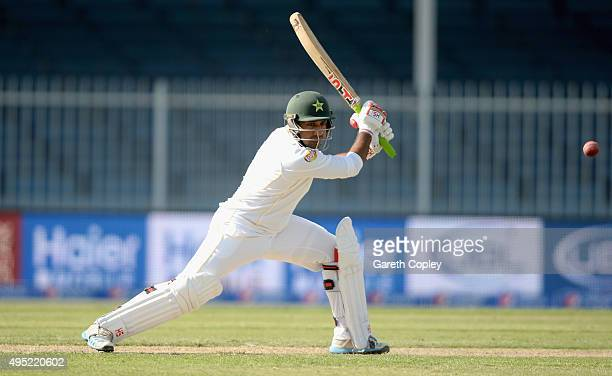 Sarfraz Ahmed of Pakistan bats during day one of the 3rd Test between Pakistan and England at Sharjah Cricket Stadium on November 1 2015 in Sharjah...