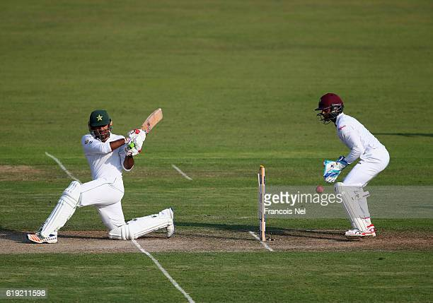 Sarfraz Ahmed of Pakistan bats during Day One of the Third Test between Pakistan and West Indies at Sharjah Cricket Stadium on October 30 2016 in...