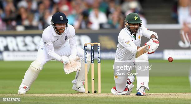 Sarfraz Ahmed of Pakistan bats during day three of the 1st Investec Test between England and Pakistan at Lord's Cricket Ground on July 16 2016 in...