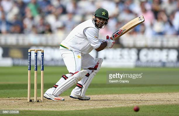Sarfraz Ahmed of Pakistan bats during day three of the 3rd Investec Test between England and Pakistan at Edgbaston on August 5 2016 in Birmingham...