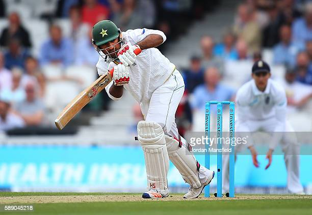 Sarfraz Ahmed of Pakistan bats during day three of the 4th Investec Test between England and Pakistan at The Kia Oval on August 13 2016 in London...