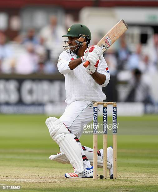 Sarfraz Ahmed of Pakistan bats during day two of the 1st Investec Test between England and Pakistan at Lord's Cricket Ground on July 15 2016 in...