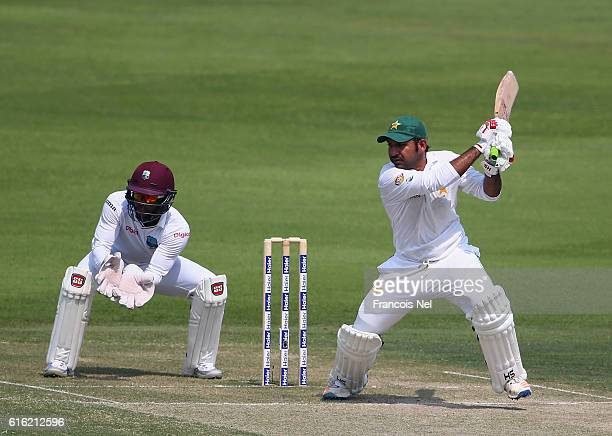 Sarfraz Ahmed of Pakistan bats during Day Two of the Second Test between Pakistan and West Indies at Zayed Cricket Stadium on October 22 2016 in Abu...