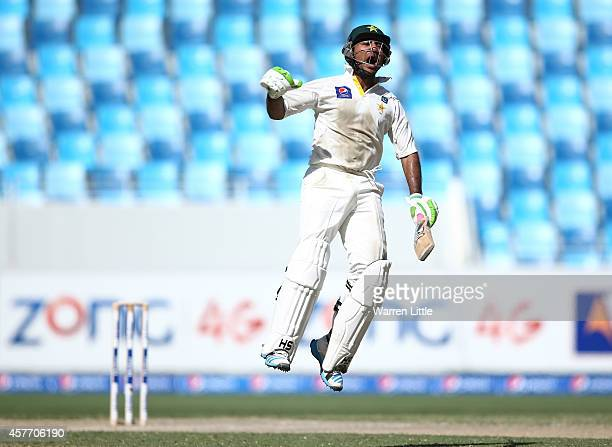 Sarfraz Ahmed of Pakistan celebrates after reaching his century during Day Two of the First Test between Pakistan and Australia at Dubai...