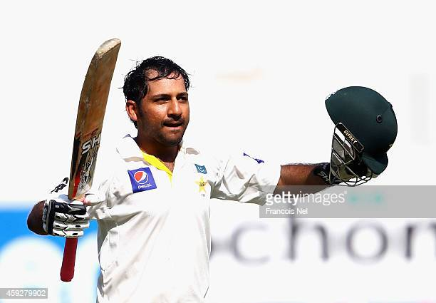 Sarfraz Ahmed of Pakistan celebrates after reaching his century during day four of the second test between Pakistan and New Zealand at Dubai...