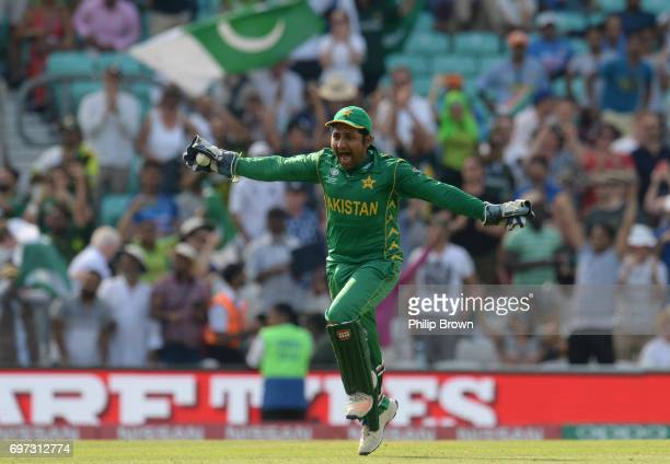 Sarfraz Ahmed of Pakistan celebrates after the final India dismissal as Pakistan won the ICC Champions Trophy final between India and Pakistan at the...