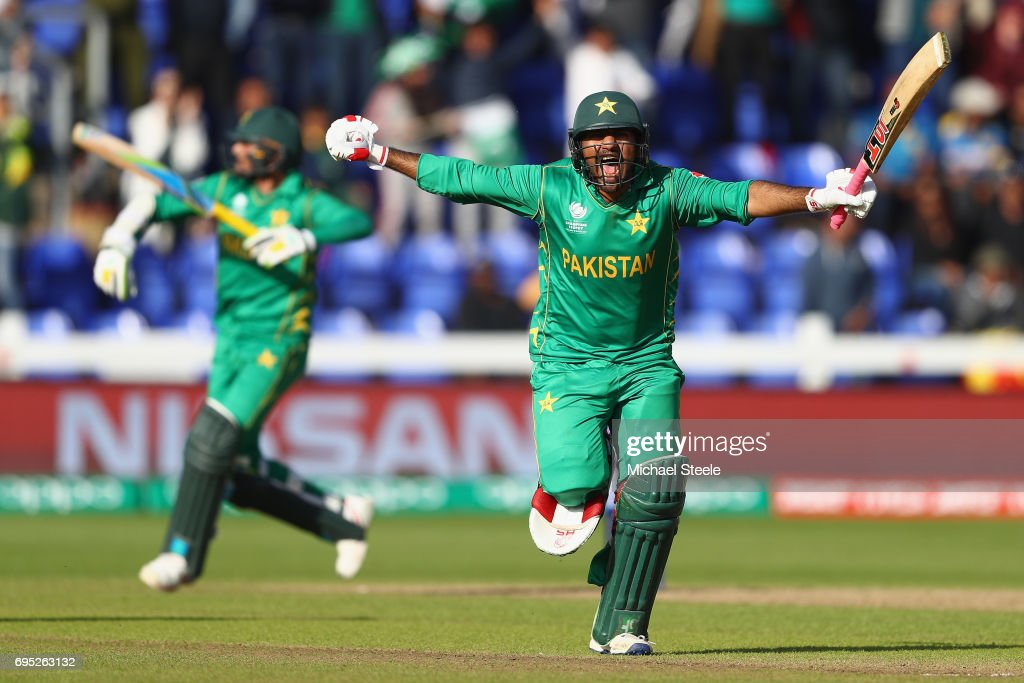 Sarfraz Ahmed of Pakistan celebrates hitting the winning runs and victory by 3 wickets during the ICC Champions Trophy match between Sri Lanka and Pakistan at the SWALEC Stadium on June 12, 2017 in Cardiff, Wales.
