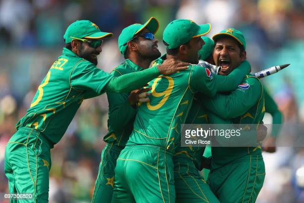 Sarfraz Ahmed of Pakistan celebrates taking the final wicket catch as Pakistan win the ICC Champions trophy cricket match between India and Pakistan...