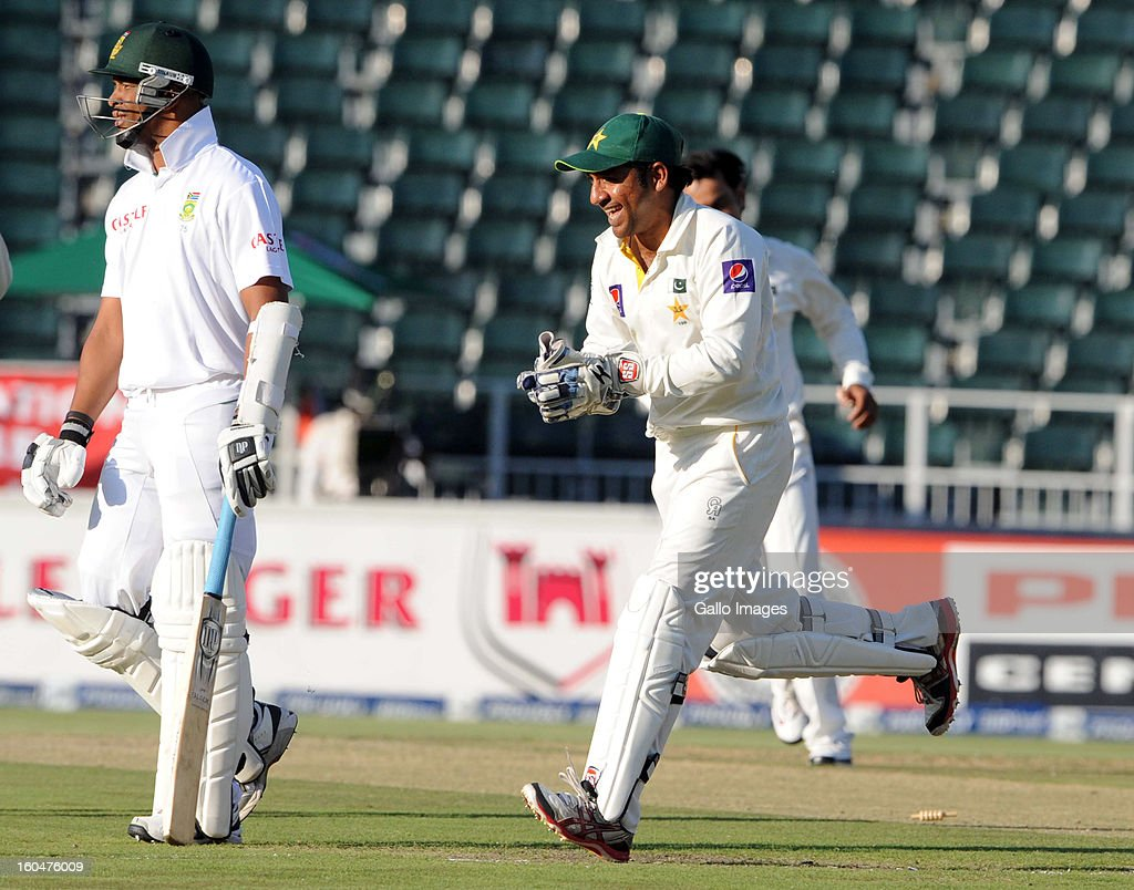 Sarfraz Ahmed of Pakistan celebrates the wicket of Vernon Philander of South Africa during day 1 of the first Test match between South Africa and Pakistan at Bidvest Wanderers Stadium on February 01, 2013 in Johannesburg, South Africa.
