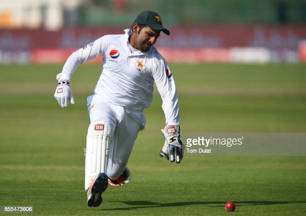 Sarfraz Ahmed of Pakistan chases the ball during Day Two of the First Test between Pakistan and Sri Lanka at Sheikh Zayed Stadium on September 29...
