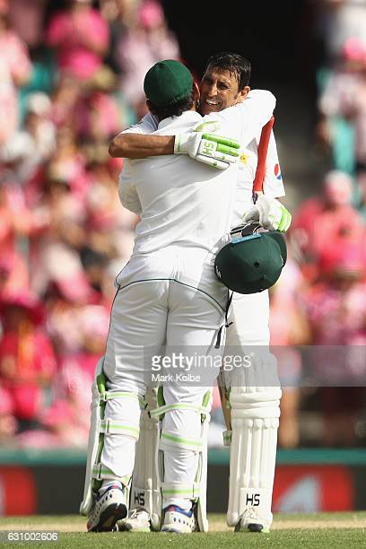 Sarfraz Ahmed of Pakistan congratulates Younis Khan of Pakistan as he celebrates his century during day three of the Third Test match between...