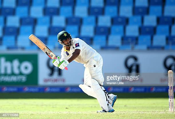 Sarfraz Ahmed of Pakistan in action during Day Two of the First Test between Pakistan and Australia at Dubai International Stadium at Dubai...