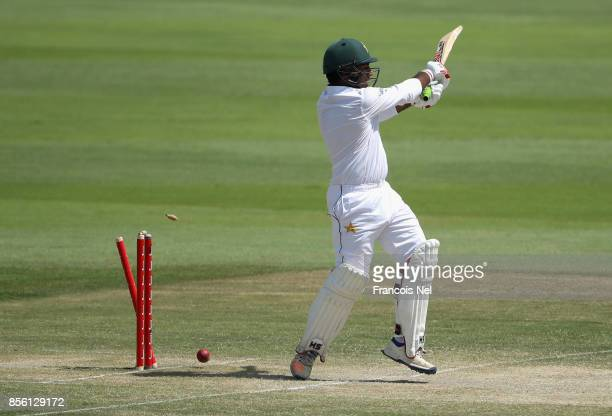 Sarfraz Ahmed of Pakistan is bowled by Suranga Lakmal of Sri Lanka during Day Four of the First Test between Pakistan and Sri Lanka at Sheikh Zayed...