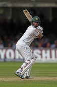 Sarfraz Ahmed of Pakistan looks anxiously behind after an edge drops short of the slip cordon during day 3 of the First Investec Test match between...