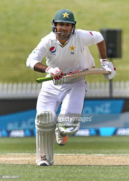 Sarfraz Ahmed of Pakistan makes a run whilst batting during day three of the Second Test match between New Zealand and Pakistan at Seddon Park on...