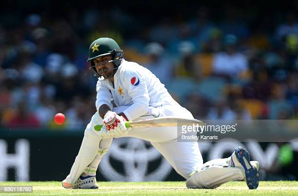 Sarfraz Ahmed of Pakistan plays a shot during day three of the First Test match between Australia and Pakistan at The Gabba on December 17 2016 in...