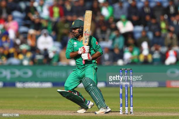 Sarfraz Ahmed of Pakistan pulls to the legside during the ICC Champions Trophy match between Sri Lanka and Pakistan at the SWALEC Stadium on June 12...