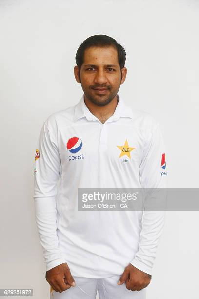 Sarfraz Ahmed poses during the Pakistan Test team headshots session on December 12 2016 in Brisbane Australia