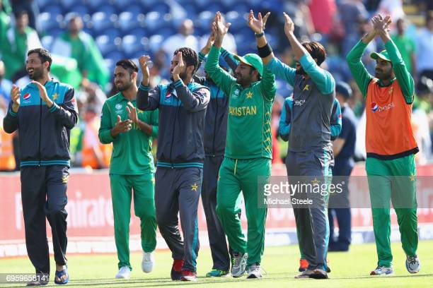 Sarfraz Ahmed the captain of Pakistan on a lap of honour with his team after victory by 8 runs during the ICC Champions Trophy SemiFinal match...