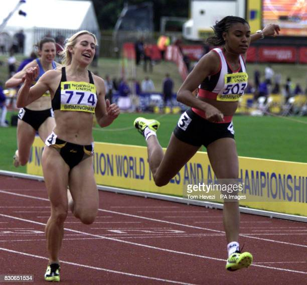 Sarha Reily beats Shani Anderson to the finish of the Womens 200m during the Norwich Union World Trials AAA Championships at Alexander Stadium...
