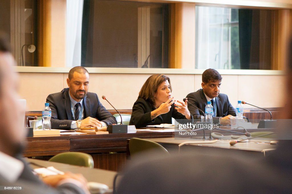 Sarhan, Caren, Jamal Al-Awadhi speaks at United Nations in Geneva, Switzerland on 13 September 2017. Activists and NGOs on September 13, 2017, at the 36th session of the Human Rights Council in Geneva called on the Human Rights Council for the unity of the all nations and Moslems against the terrorism and proxies of Iranian regime in the region specially in Yemen and Syria and Gulf nations.