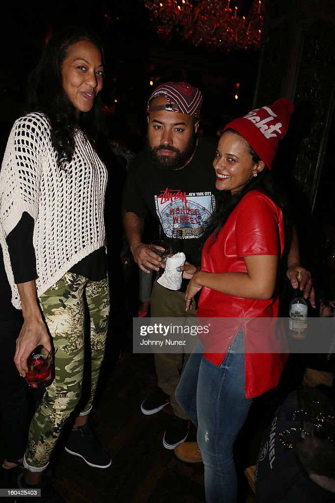 Sari Baez, Ebro and Capricorn Clark attend the DJ Enuff Birthday Celebration at The Griffin on January 30, 2013 in New York City.